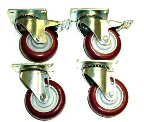 "Superior Brand, Swivel Caster 4""x1-1/4"" Polyurethane Wheel 2-1/2""x3-5/8"" Plate w Brake (4)"