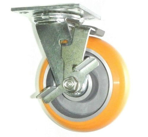 "Albion, One Swivel Caster with Brake and Polyurethane on Aluminum 6"" x 2"" 1000# Wheel"