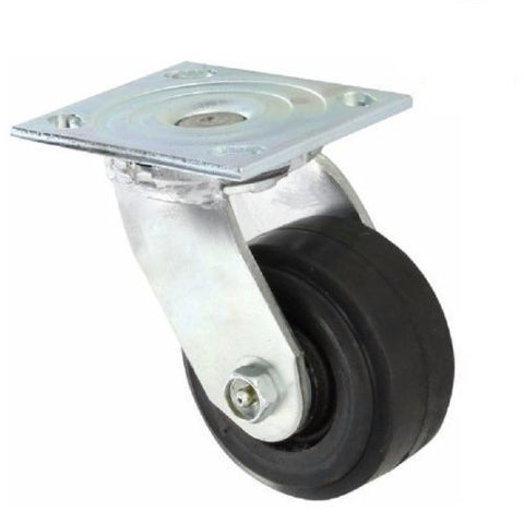 "Albion,  Swivel Plate Caster and 4"" Rubber Wheel and 4"" x 4-1/2"" Plate"