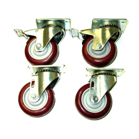 "Superior Brand, Set 4 Swivel Plate Casters with 4"" Maroon Polyurethane Wheels and 2 with Brakes"