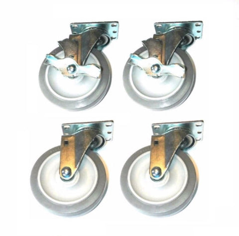 "Superior Brand, (Pack of 4) Swivel Casters w 5"" x 125"" Non-Marring Wheels and 2 Side Lock Brakes"