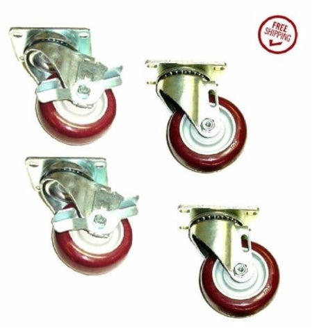 "Superior Brand, Set of 4 Casters with 3-1/2"" Poly Wheels - 2 Swivel and 2 Braking Swivels"
