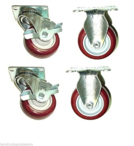"Superior Brand, Superior Swivel Caster 3-1/2""x1-1/4"" Poly Wheel 2-1/2""x3-5/8"" Plate w Brake (4)"