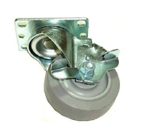 "Superior Brand, Swivel Plate Caster with 3-1/2"" Soft Rubber Gray Wheel with Side Locking Brake"