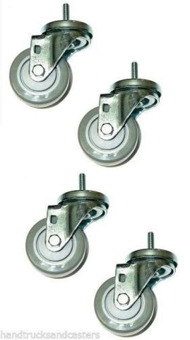 "Superior, Set of 4 Casters Gray 3"" Poly Wheels and 3/8"" x 1-1/2"" Tall Threaded Stems"