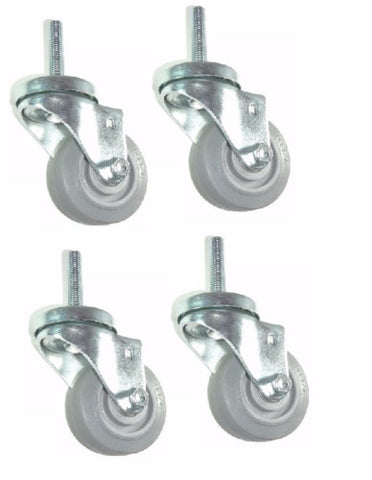 "Superior Brand, Set of 4 3"" Gray Swivel Casters with 1/2""-13 x 1"" Tall Threaded Stem"