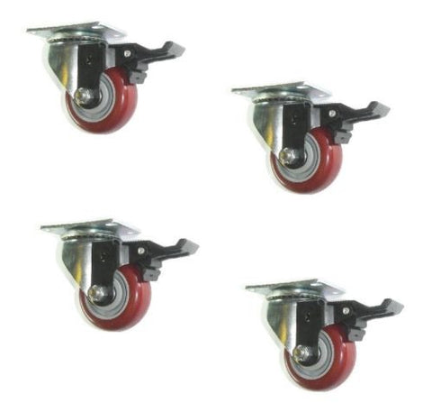 "Superior Brand, Swivel Caster 3"" x 1-1/4"" Polyurethane Wheel 2-1/2"" x 3-5/8"" Plate w/ Brake (4)"