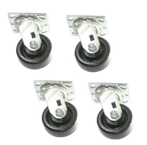 "Superior Brand, [4] DuraStar Swivel Plate Caster 4"" x 1-1/2"" Phenolic Wheel (Concrete Floor)"