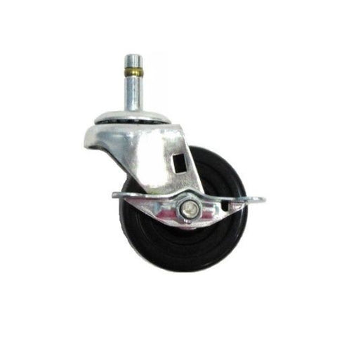 "Superior Brand, Swivel Caster with 3"" x 1-1/4"" Hard Rubber Wheel (7/16"" Grip Ring Stem) w/Brake"