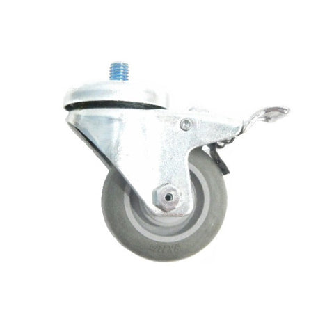 "Superior Brand,  Swivel 3"" x 1-1/4"" Gray Polyurethane Caster with Brake and 1/2"" Stem"