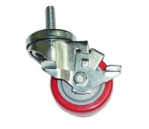 "Superior Brand, DuraStar Swivel Stem Caster 3"" x 1-1/4"" Polyurethane Wheel 3/8"" Threaded Red One"