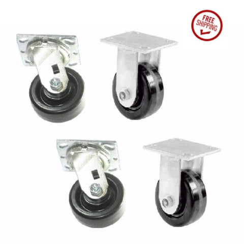"Superior Brand, Set of 4 Toolbox Phenolic Wheel Casters with 4"" x 1-1/2"" Wheel 2 Rigid 2 Swivels"