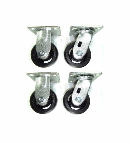 "Superior Brand,  (4) (2) Swivel (2) Rigid Casters 4"" Rubber Mold-On Steel Wheel"