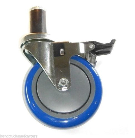 "Superior Brand, Swivel Caster with 5"" Polyurethane Wheel Brake and 1-3/8"" Round Rubber Grip Stem"
