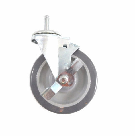 "Superior Brand, Swivel Stem Caster with 5"" Polyurethane Wheel with Brake / 300# Cap."