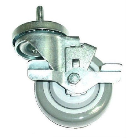 "Superior Brand, Swivel Stem Caster with 3"" Wheel and 3/8"" -Coarse Tall Threaded Stem and Brake"