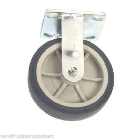"Superior Brand, Rigid Plate Caster with 5"" x 2"" Gray Rubber Non-Marking Wheel 375# Cap"