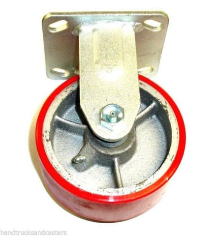 "Superior Brand, Rigid Plate Caster with Red Poly on Steel 5"" x 2"" Wheel and 6-1/2"" Height"