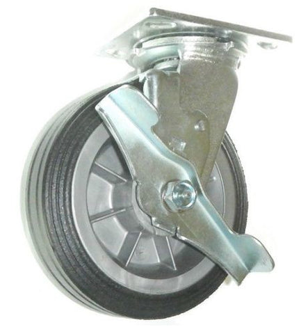 "Superior Brand, Light Duty Solid Rubber 6"" x 2"" Swivel Caster with Brake 350 # Capacity"