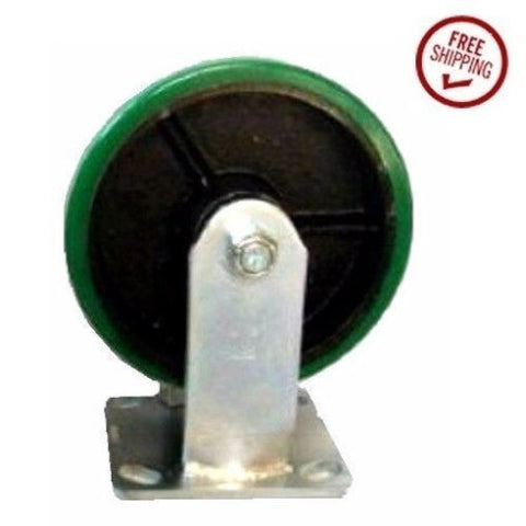 "Superior Brand, Rigid Plate Caster with Green Polyurethane on Steel 8"" x 2"" Wheel 1000# Capacity"