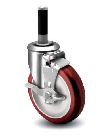 "Superior Brand, Swivel Caster with 5"" Wheel for 3/4"" to 13/16"" Diameter Legs with Brake EAS"