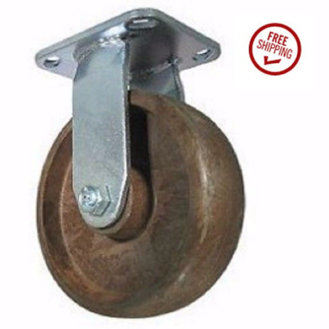 "Superior Brand, Rigid Plate Caster 6"" x 2"" High Temp Wheel 4"" x 4-1/2"" Plate Rated to 475 One"
