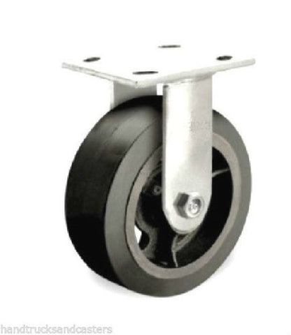 "Superior Brand, Superior Rigid Caster 6""x2"" Black Rubber Wheel 4""x4-1/2"" Plate Asphalt Rated"