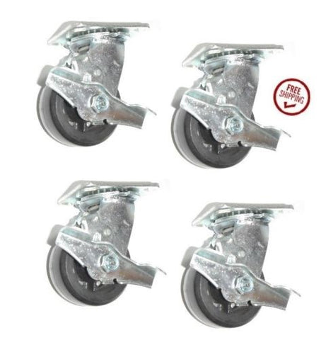 "Superior Brand,  (Set of Four) Casters with 4"" Wheel with Brake w 2-1/2"" x 3-5/8"" Plate"