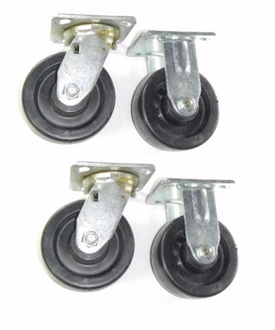 "Superior Brand,  (Set of Four) (Swivel/Rigid ) Casters / 5"" Wheel w 4"" x 4-1/2"" Plate"