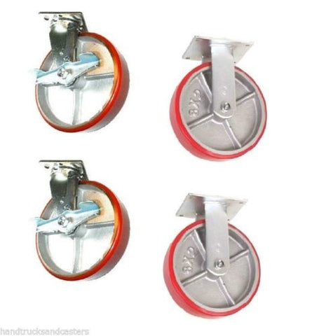 "Superior Brand, Set of 4 Casters with 8"" Poly on Steel Wheels 2 Rigid and 2 Swivel Brakes"