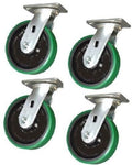 "Superior Brand, [4] Durable Swivel Plate Casters 4"" x 2"" Polyurethane Wheel (Green)(2400# Cap.)"