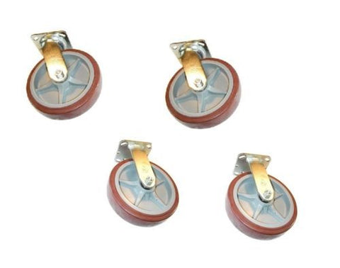 "PolyPro Brand, (4) 2 Swivel 2 Rigid Casters with 8"" Poly Wheel 3""x 3"" Bolt Hole Top Plate"