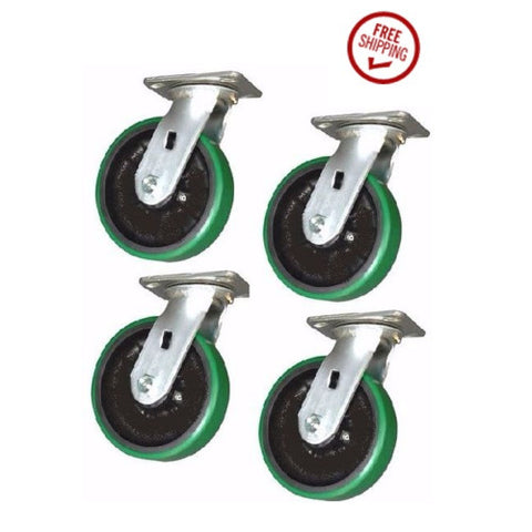 "Superior Brand, DuraTek Swivel Casters 6""x2"" Polyurethane Wheel 4""x4-1/2"" Plate Green3600# (4)"