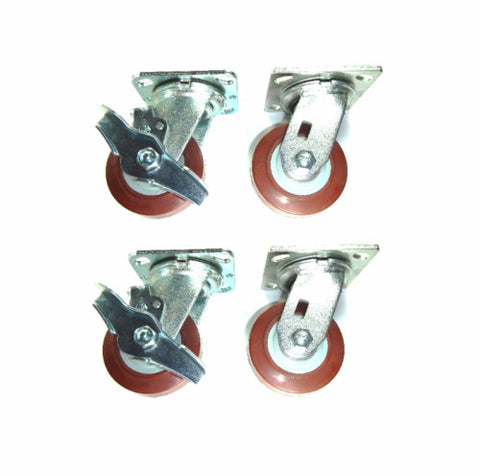 PolyPro Brand,  Four Swivel Casters Maroon Poly Rubber Wheels and 2-with-Brakes
