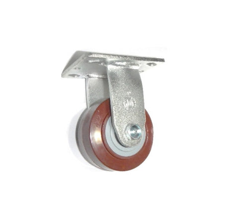 "PolyPro Brand,  Plate Caster with Non-Marking 4"" (Maroon) Polyurethane Wheel Brand"