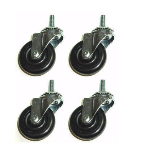 "Superior Brand, Set of 4 Swivel Stem Casters with 3"" Hard Wheels and 1/2"" Coarse Threaded Stem"
