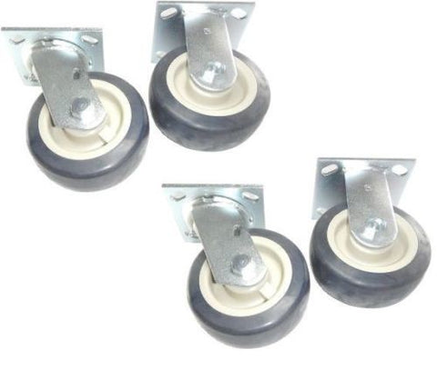 "PolyPro Brand, Pack of 4 Non-Marking Plate Casters w 5"" Blue Poly Wheels (2 Rigid and 2 Swivel)"