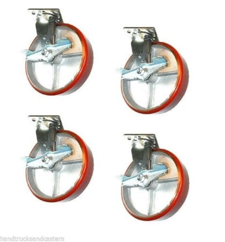 "Superior Brand, Set of 4 Swivel Casters with 8"" x 2"" Poly on Steel Wheels with Side Lock Brakes"