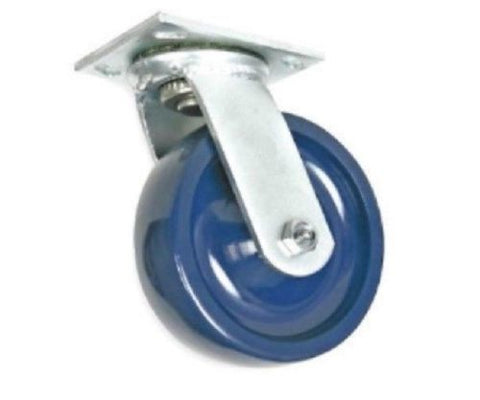 "Superior Brand, Swivel Caster 6""x2"" Solid Polyurethane Wheel 4""x4-1/2"" Plate Blue Elastomer One"