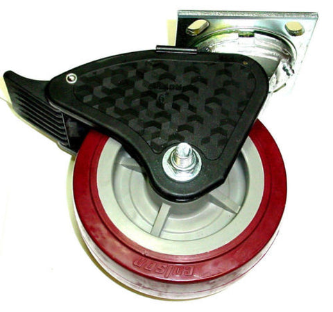 "Colson, Colson Swivel Plate Caster with Non-Marking Polyurethane 6"" x 2"" Wheel and Brake"