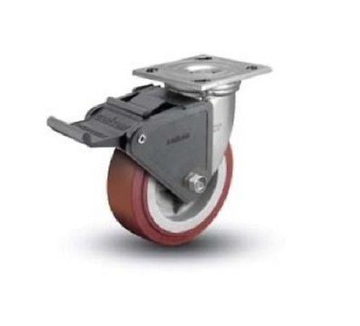 "Colson, Colson Swivel Plate Caster with Non-Marking Polyurethane 5"" x 2"" Wheel and Brake"