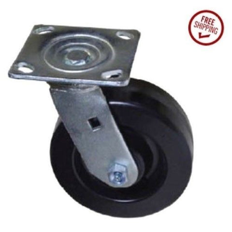 "Arbco, Colson Swivel Plate Caster 6"" x 2"" Phenolic Wheel and Square Plate"