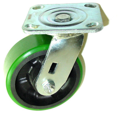 "Superior Brand, Durable Swivel Caster 4"" x 2"" Polyurethane Wheel 4"" x 4-1/2"" Plate Green500# One"