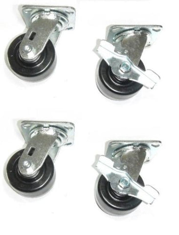 "Superior Brand, Set of 4 NEW Heavy Duty 900# Cap Swivel Casters 4"" x 2"" Phenolic Wheel 2 with Br"