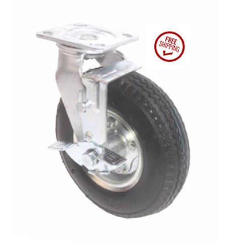 "Pneumatic Caster, Medium Duty Swivel Caster 8""x3"" Pneumatic Wheel (4""x4-1/2"" Plate) w/Brake"