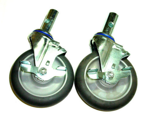 "Gemini Parts, Two Replacement Swivel 5"" Caster for Convertible Hand Trucks Side Lock Brake"