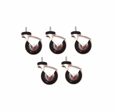 "(Pack of 5) Chrome Plated Medical Caster 3"" x 7/8"" Wheel (5/16"" Threaded)"