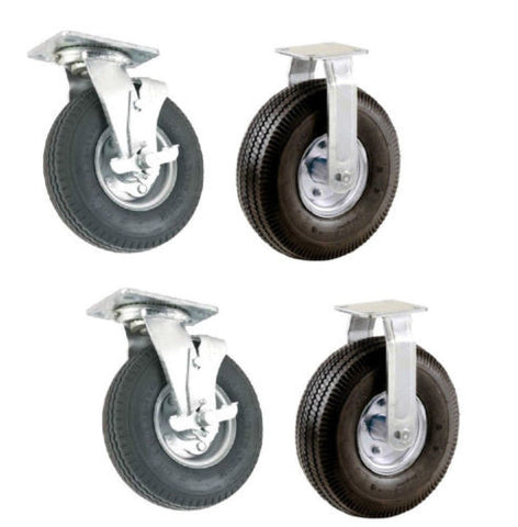 "Set of 4 Pneumatic Wheel Caster with 10"" Air Tires 2 Swivel with Brakes 2 Rigid"