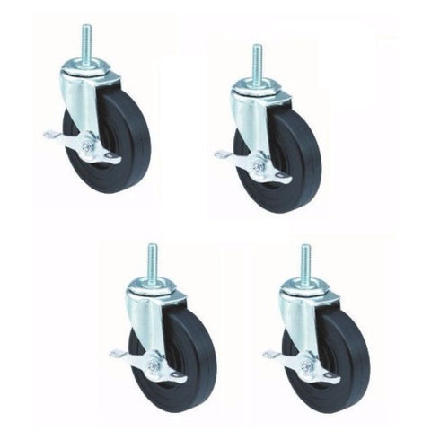 "Superior Brand, Set of 4 Threaded Stem Casters with 5"" Wheels with 1/2"" 13 Stem with Brakes"