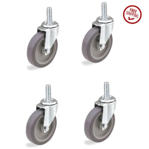 "Superior Brand, Package of 4 Swivel Stem Casters w Soft Rubber Wheel and 1/2"" Threaded Stems"